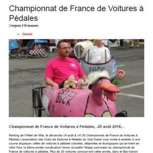 article de presse course de Cenon e Gironde (33) le dimanche 19 Août 2018 - F.F.C.V.P.