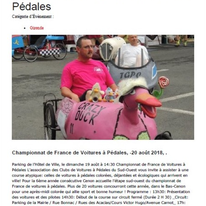article de presse course de Cenon e Gironde (33) le dimanche 19 Août 2018