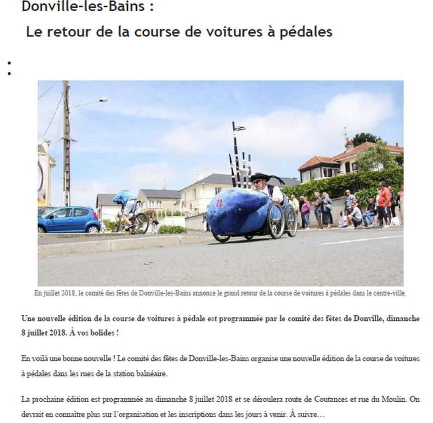Article de presse course Donville les Bains 2018 - F.F.C.V.P.