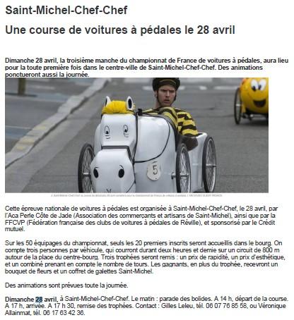 presse course de Saint Michel Chef Chef 2019 en Loire Atlantique (44) - F.F.C.V.P.