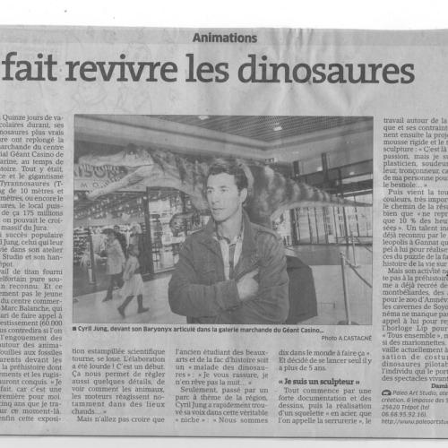 catégorie(s) :  - Article Est-Républicain : Il fait revivre les dinosaures