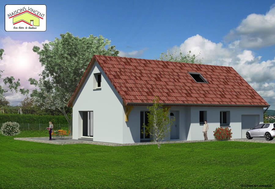 Modèle Réf. 3D : 112 300 euros ou modèle Réf. 3E : 115 500 euros ou modèle Réf. 3F : 128 300 euros - Maisons Vincent