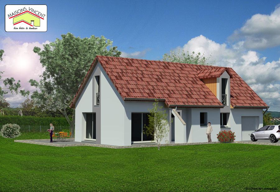 Modèle Réf. 10E : 122 300 euros ou modèle Réf. 10F : 134 200 euros - Maisons Vincent