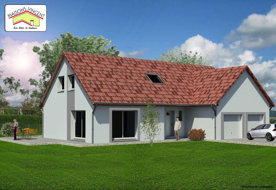 Modèle Réf. 12D : 135 500 euros ou modèle Réf. 12E : 141 600 euros ou modèle Réf. 12F variante : 159 200 euros - Maisons Vincent