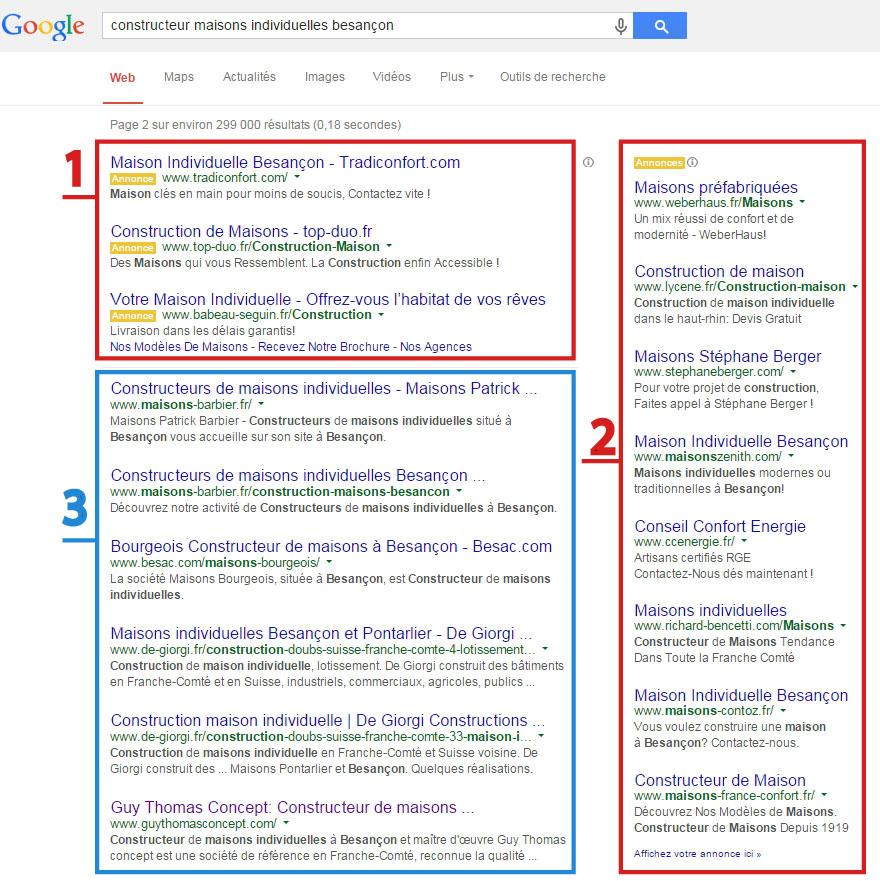 1 & 2 : Liens sponsorisés | 3 : Liens organiques