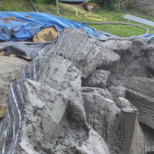 Création bassin et faux rochers