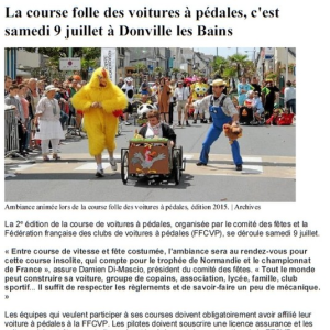 presse de la course de Donville les Bains 2016 - F.F.C.V.P.